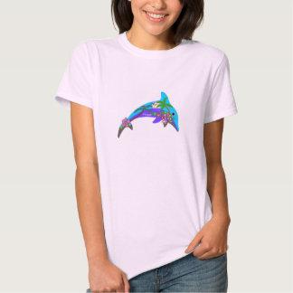 Dolphin Outline Hawaiian Sunset Palm Trees Tshirt