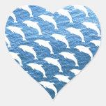 Dolphin Pattern Heart Sticker