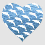 Dolphin Pattern Heart Stickers