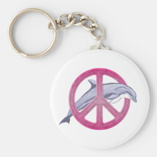 Dolphin Peace Pink Basic Round Button Key Ring