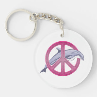 Dolphin Peace Pink Double-Sided Round Acrylic Key Ring