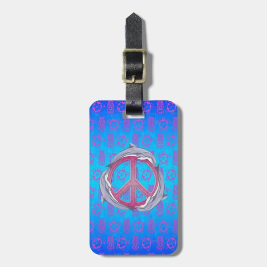 Dolphin Peace Pink Luggage Tag