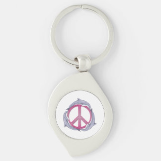 Dolphin Peace Pink Silver-Colored Swirl Key Ring