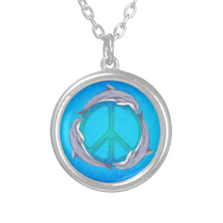 Dolphin Peace Silver Plated Necklace