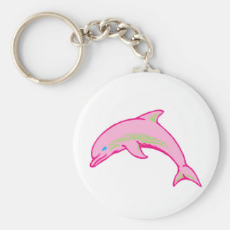 Dolphin Pink & Green Basic Round Button Key Ring