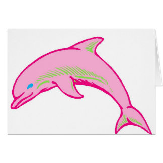 Dolphin Pink & Green Greeting Card