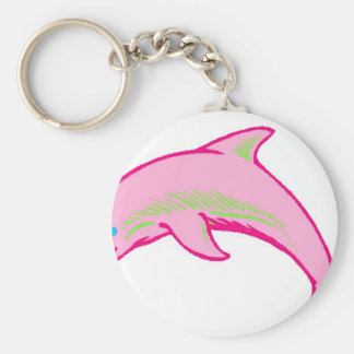 Dolphin Pink & Green Key Chain