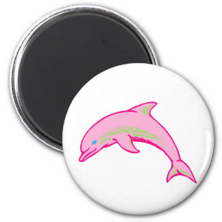 Dolphin Pink & Green 6 Cm Round Magnet