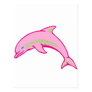 Dolphin Pink & Green Postcard