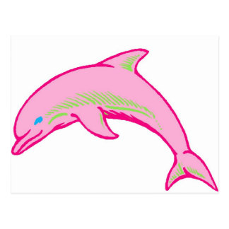 Dolphin Pink & Green Postcards