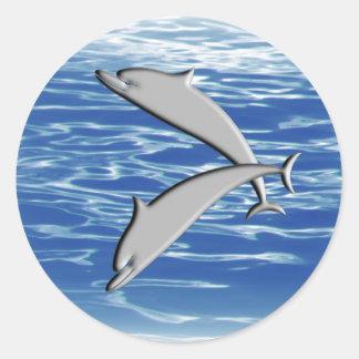 Dolphin Play Round Sticker