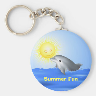 Dolphin Playing with Sun Basic Round Button Key Ring
