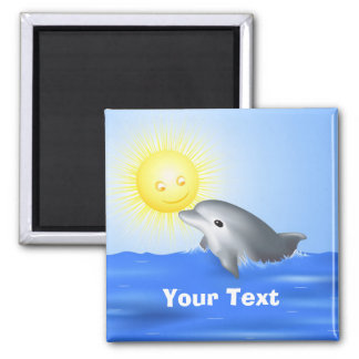 Dolphin Playing with Sun Square Magnet