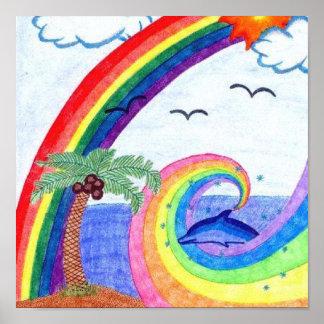 Dolphin Rainbow Poster