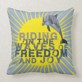 Dolphin riding the waves pillow