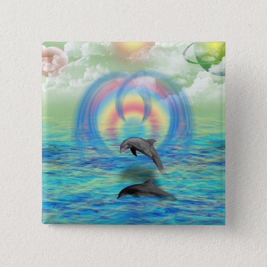 Dolphin Rising 15 Cm Square Badge
