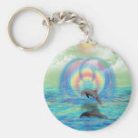 Dolphin Rising Basic Round Button Key Ring