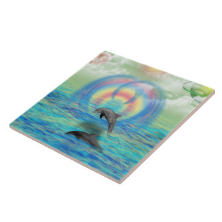 Dolphin Rising Large Square Tile