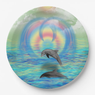 Dolphin Rising Paper Plate