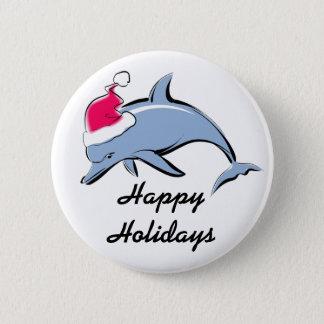 Dolphin Santa Holiday Button