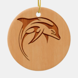 Dolphin silhouette engraved on wood design christmas ornament