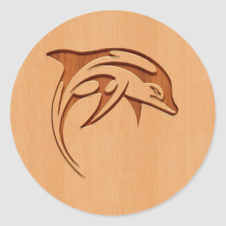 Dolphin silhouette engraved on wood design round sticker