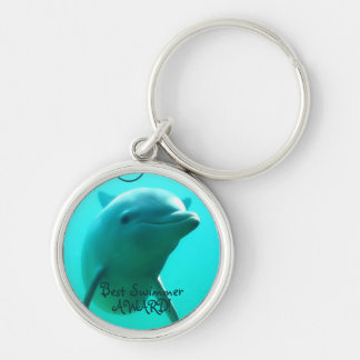 Dolphin Silver-Colored Round Key Ring