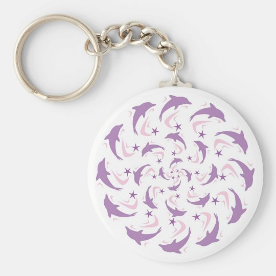 Dolphin spiral basic round button key ring