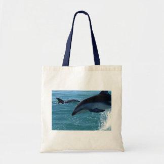 Dolphin Splash Destiny Beach Ocean Nature Budget Tote Bag