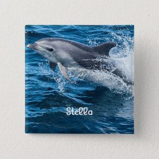 Dolphin Splashing Personalized Button