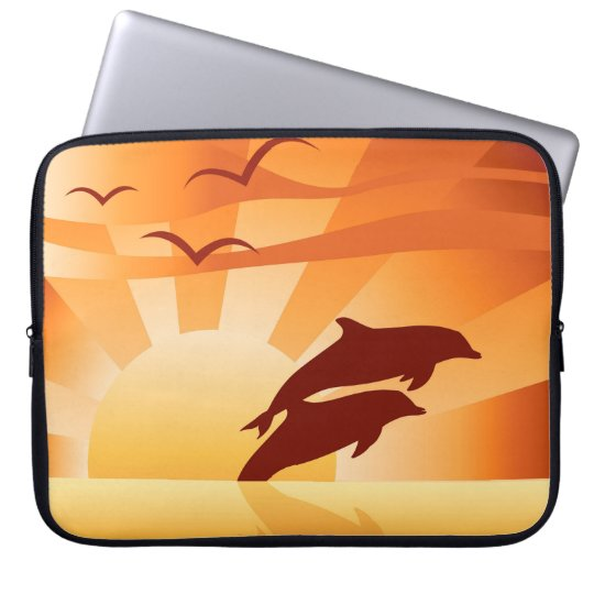 Dolphin Sunset Laptop Sleeve