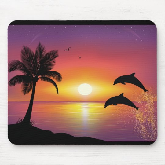 Dolphin sunset mouse pad