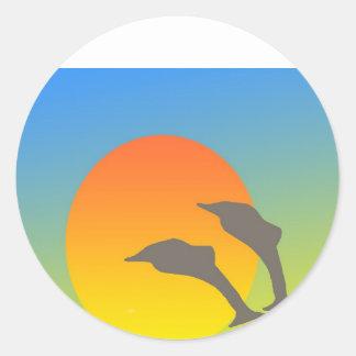 Dolphin Sunset Round Sticker