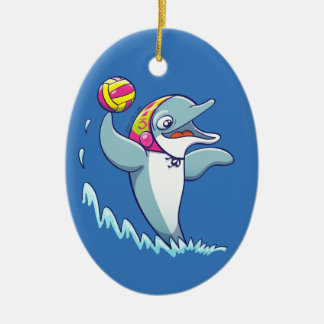 Dolphin throwing the ball while playing water polo ceramic oval decoration