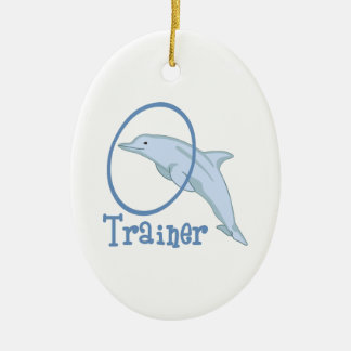 Dolphin Trainer Ceramic Oval Decoration