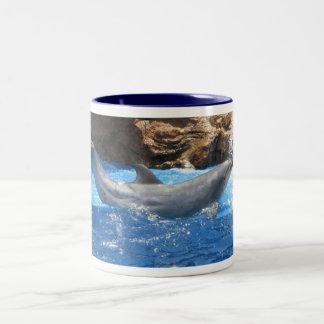 Dolphin Tricks Coffee Cup Two-Tone Mug