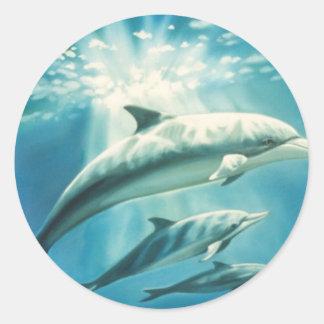 Dolphin Trio Round Sticker