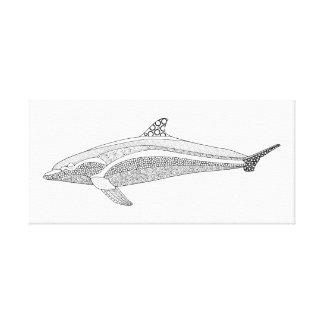 Dolphin Two Line Art Design Canvas Print
