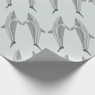 Dolphin Two Line Art Design Wrapping Paper