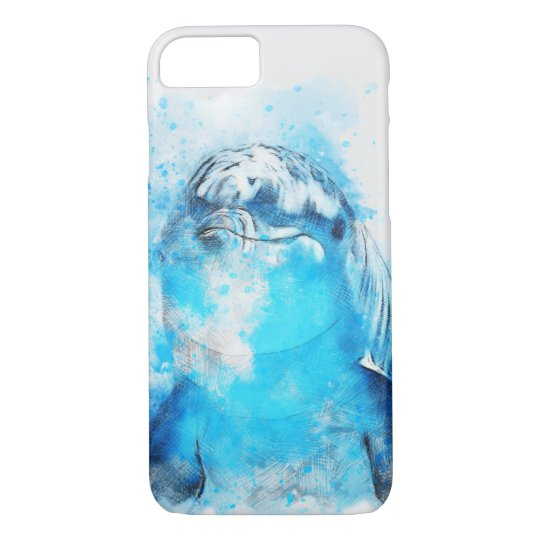 Dolphin Watercolour Design iPhone 7 Case