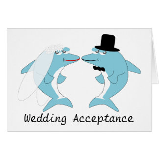 Dolphin Wedding Acceptance Card
