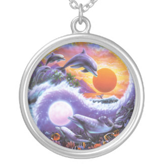 Dolphin YinYang Silver Plated Necklace