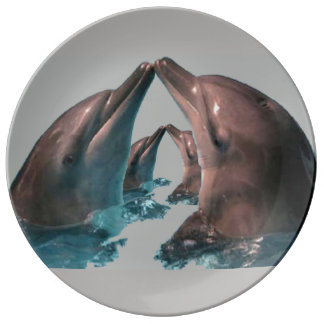 "Dolphins, 10.75"" Decorative Porcelain Plate"