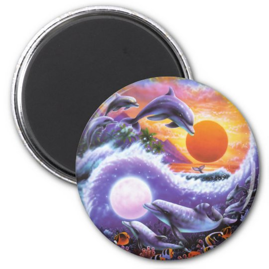 Dolphins 6 Cm Round Magnet