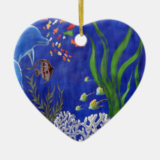 Dolphins and fish christmas ornament