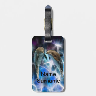 Dolphins and fractal crystals bag tag