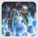Dolphins and fractal crystals sticker