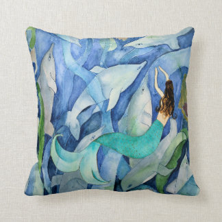 Dolphins and Mermaid party pillow