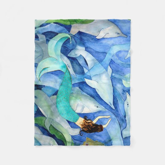 Dolphins and mermaid party throw blanket