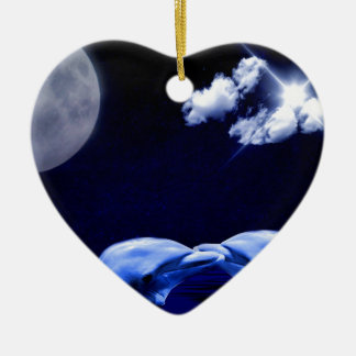 Dolphins and Moon Christmas Ornament